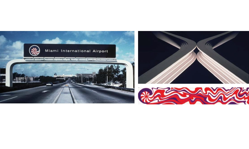 Doggett's Miami International Airport logo was based on the nautilus to express the ocean environment, in bright, South Florida colors. The arch sign support and sculpted landmark reflect the area's Latin American architectural heritage.