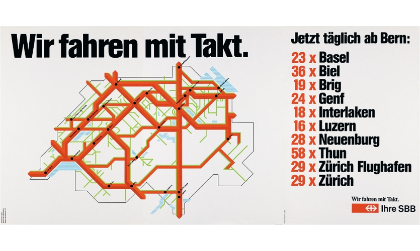 """""""We drive with tact. / We keep time."""" Poster for the introduction of the integrated timetable (Young & Rubicam, 1982). The information on daily connections was adapted to the respective station."""