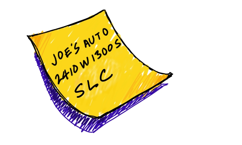"""Waynefinding June 2019 """"It's hard to get lost in Utah towns and cities."""" (image: illustration of note with SLC address)"""