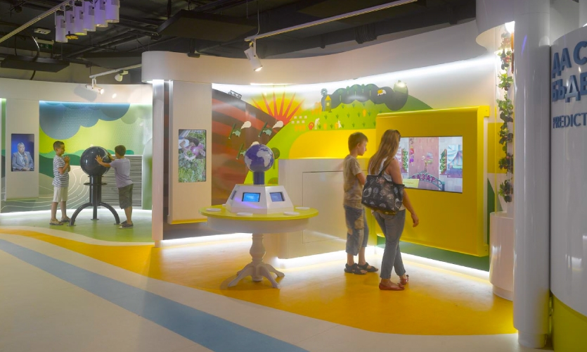 Game-based digital interactives are placed throughout the exhibits.