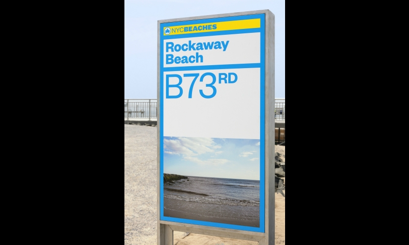 Beach identity signs feature post-Hurricane Sandy photos, taken from the exact location of the signs.
