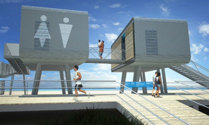 35 prefabricated lifeguard and restroom stations were installed along the shoreline. The solar-powered, corrugated-metal-and-wood modules, designed by Garrison Architects, were fabricated off-site and, following FEMA regulations, sit on stilts above the sand. (Image: Garrison Architects)