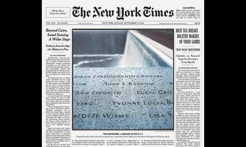 """(September 11, 2011) This NY Times front page features a section of the Memorial's victim names commemoration. The evocative """"tearing"""" surface of the bronze was part of our earliest cast prototypes."""