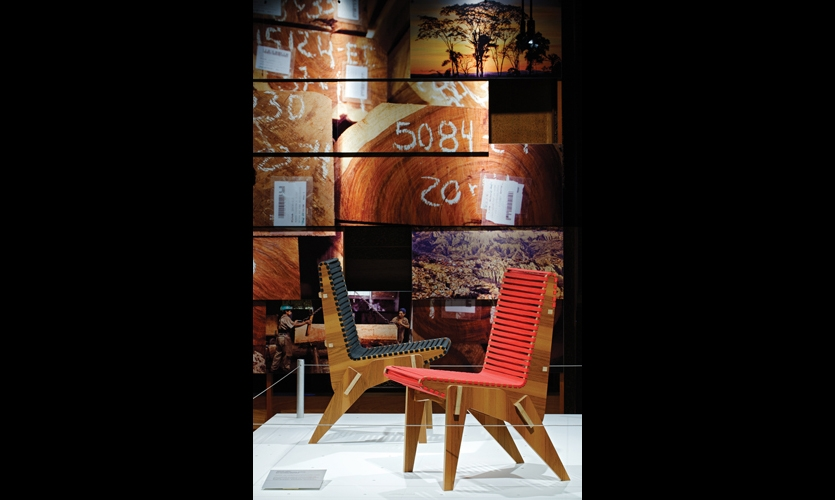 Pentagram Partner Abbott Miller and design Brian Raby designed mid-century Modern-inspired chairs made from Bolivian jatoba veneers.Their prototype yielded 3 chairs per sheet of FSC-certified plywood, with minimal waste.