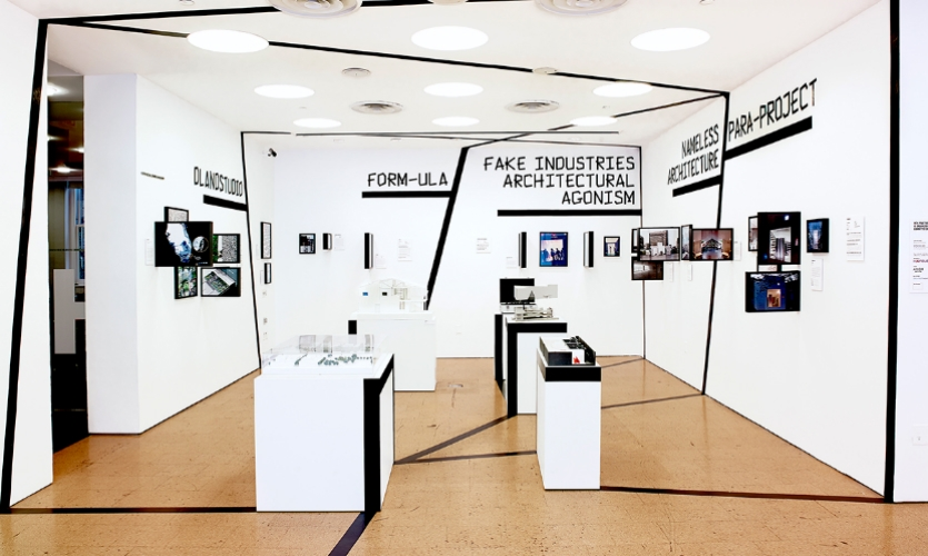 A design team led by Pentagram Partner Natasha Jen created the exhibition design for AIA New York's New Practices exhibition.