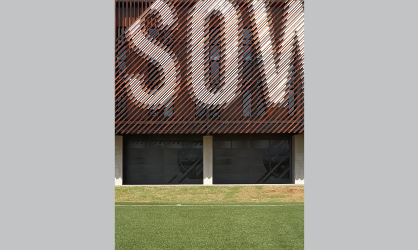 From Archigraphia Redux: Nike Football Training Centre; Soweto, South Africa; Design Firm: RUF Project w/Nike Brand Design; Client: Nike