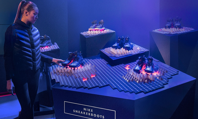 The theme of the SneakerBoot display aligned with the course and animations of combative winter conditions.