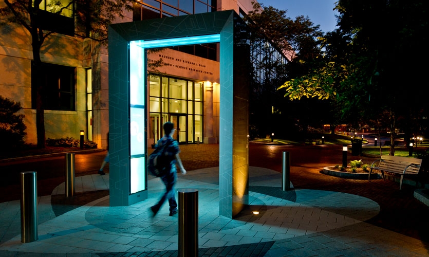 The award-winning Bernard M. Gordon Tribute Portal at Northeastern University in Boston is an interactive archway in the center of the campus honoring 10 groundbreaking engineers using innovative media.