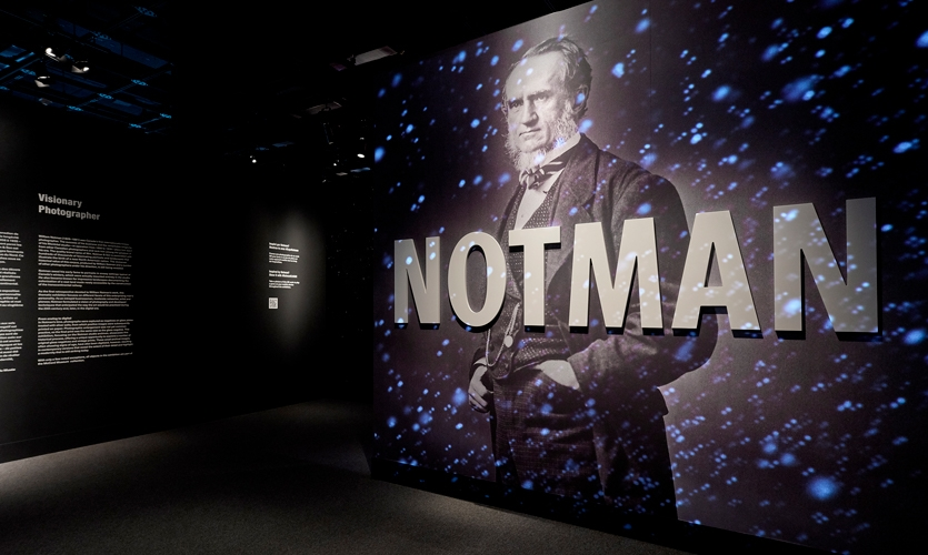 Exhibition scenography pays homage to one of Notman's signature and patented techniques: creating the illusion of outdoor winter scenes.
