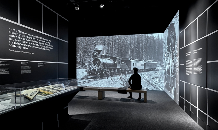 Designers wanted visitors to appreciate the awe -inspiring effect of Notman's landscapes on Victorian audiences. A large projection immerses visitors into the heart of the images.