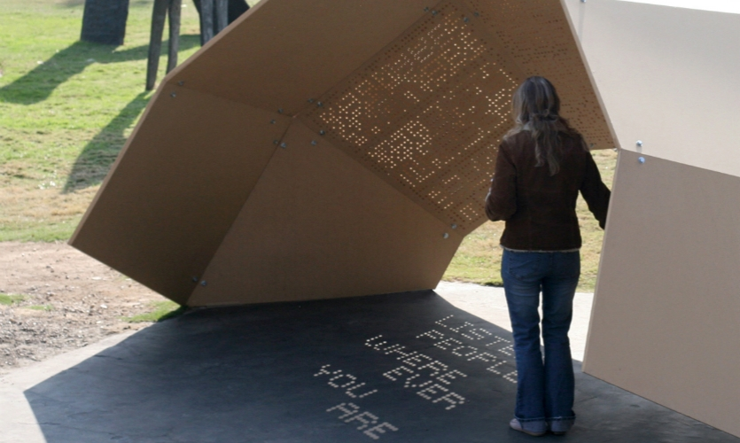 One-Day Poem Pavilion (Jiyeon Song, 2008). Pure poetry in a temporal, typographic installation.