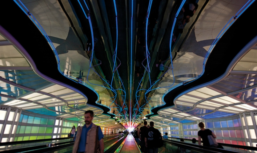 Innovative public spaces: At Chicago O'Hare International Airport, Michael Hayden's 1987 neon walkway (converted later to LEDs) is a classic example of how design can transform a mundane experience.