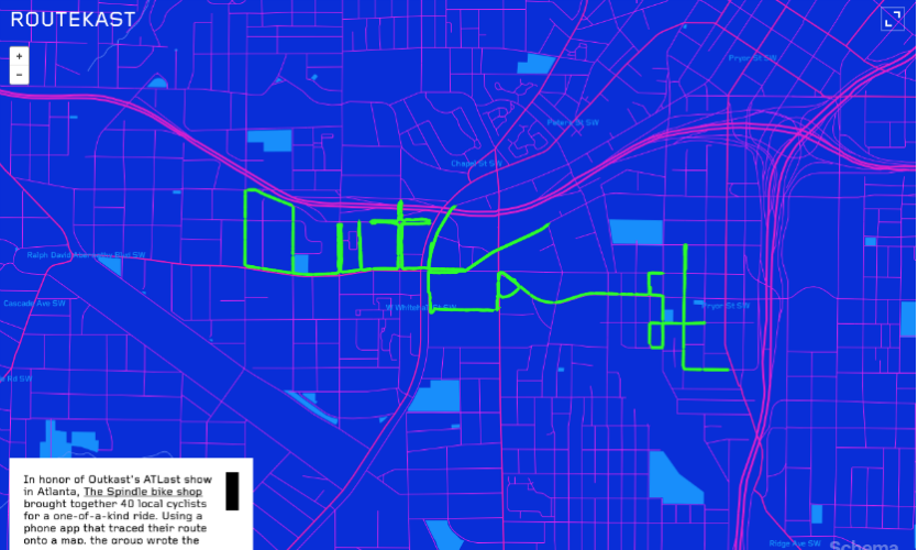"Routekast, also for Big Boi of Outkast, maps the GPS traces of 40 cyclists from a bike ride on July 6, 2014, spelling the name ""Outkast"" in downtown Atlanta."