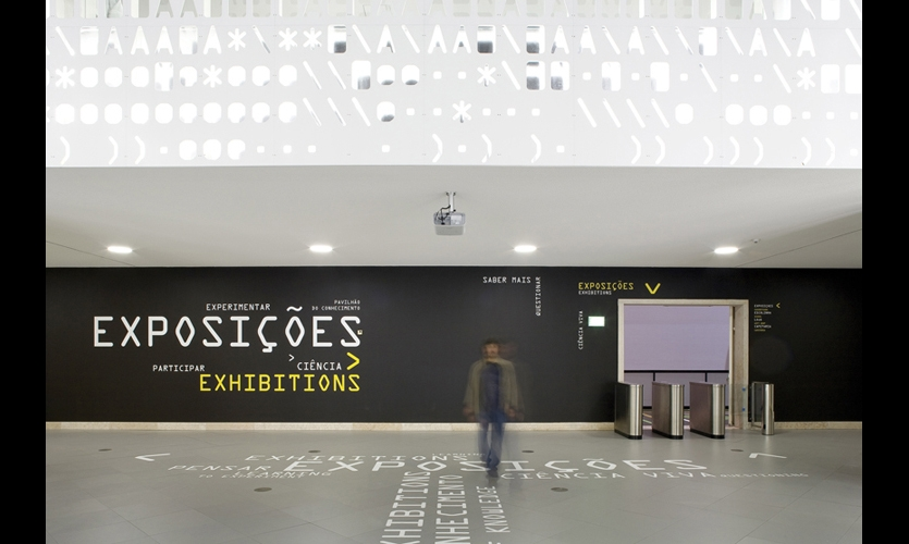 Vinyl floor graphics are part of the wayfinding system, which was also designed by P-06 Atelier.