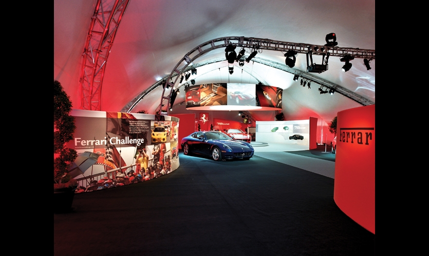 Ferrari auto exhibit, Pebble Beach, Calif. Fabrication: Dimensional Communications, Fabric Images