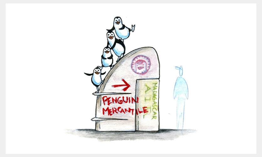 This concept for Universal Studios Singapore has the penguins running the retail area for the Madagascar ride. The sign is a piece of the crashed airplane.