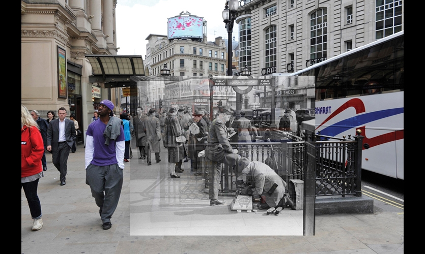 At Picadilly Circus, the hustle and bustle of the past melds with the street scene of the present.