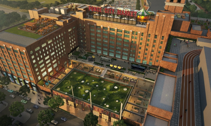 Ponce City Market will open in fall 2014 in a 2.1 million-sq.-ft. former Sears Roebuck distribution center. The 10-story building includes a rooftop garden with mini-golf and an amusement park.