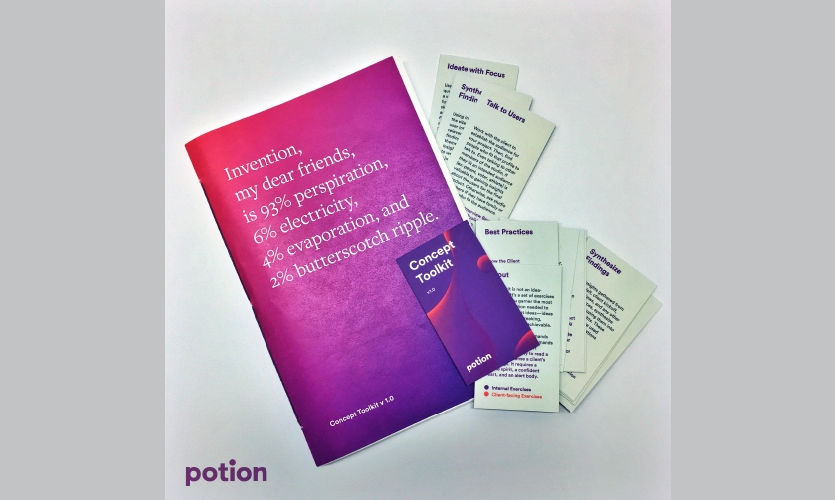 Potion's Concept Toolkit promotes collaboration with clients and helps develop critical framing questions for the firm's projects.