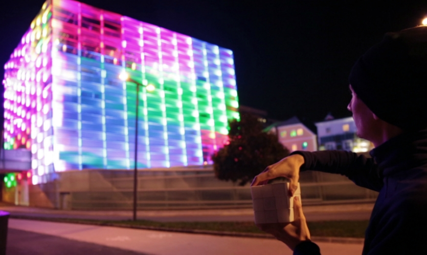 Puzzle Façade brings the experience of solving a Rubik's cube to the urban space. It transformed the façade of the Ars Electronica center in Linz into a giant Rubik's cube.