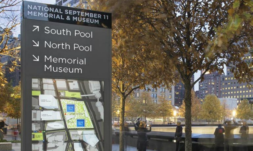 On the reverse of the kiosks, the Memorial site map is set into context with a broader view of Lower Manhattan, providing visitors with a fuller picture of local sights, transportation hubs and other services.