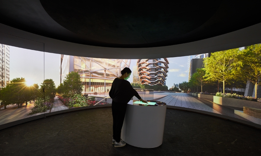 """The last station is the """"360 Room,"""" a round room entirely dedicated to the public green spaces of the development, which will encompass 14 acres."""