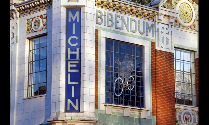 (1911) The Michelin Building in London, with its stained-glass windows featuring the Michelin Man, was one of the first examples of graphic design in the built environment fully realized as one integrated, holistic point of view. (Photo: James Stringer)