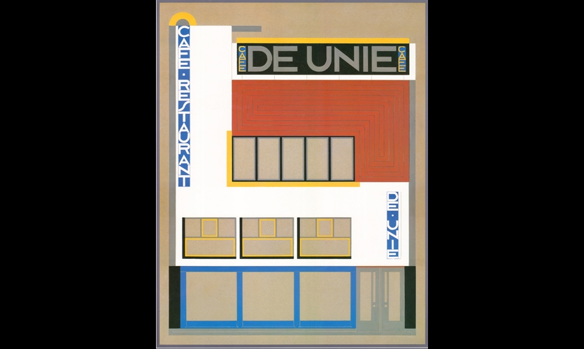 (1925) At the Café de Unie in Paris, graphic design and architecture become one structure, one sign, one message, and ultimately one integrated identity. (Photo: Netherlands Architecture Institute)