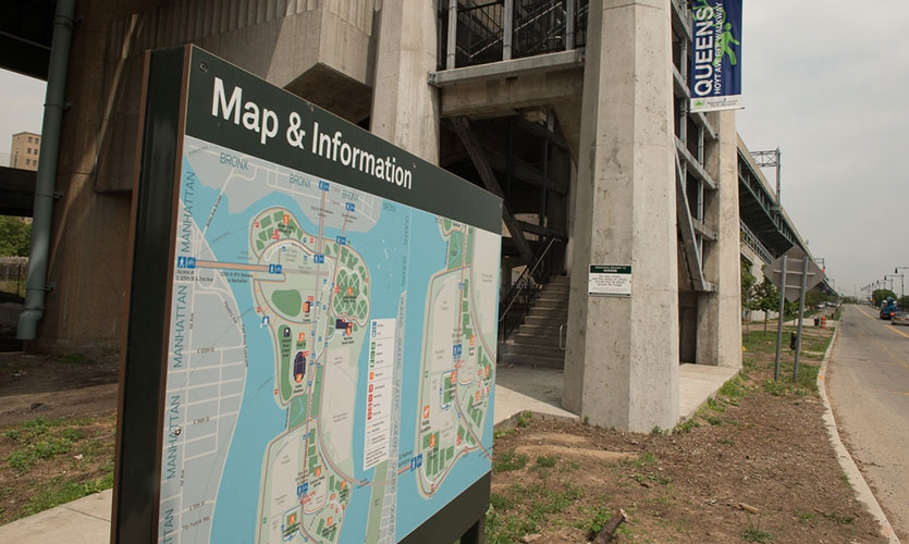 Via Collective took a holistic approach to Randall Island's wayfinding challenges, designing and installing a system that minimized signs, consolidated messages and made wayfinding easy, regardless of how visitors accessed the island.