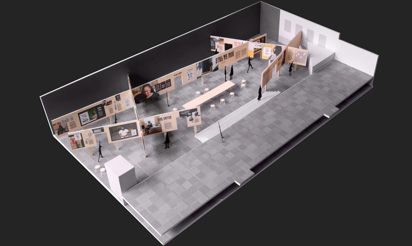 The exhibition model shows the free-standing structural concept; the panels hold each other up and form rooms, each of which correspond to a key theme.