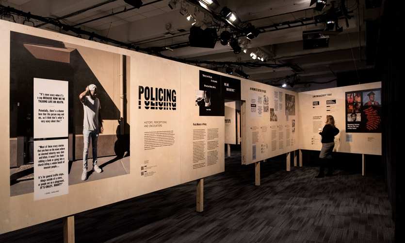 "In the ""Policing"" room, an incomplete history of policing is juxtaposed with ethnographic narratives and photographs from research participants."