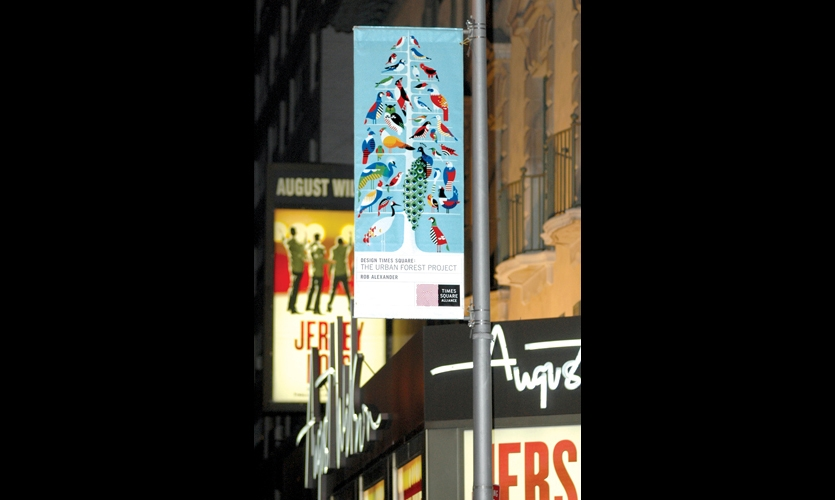 For the Urban Forest Project—conceived by Worldstudio and Worldstudio Foundation for The Times Square Alliance—200 designers (including Gooddesign and Rob Alexander) created banners expressing environmental issues.