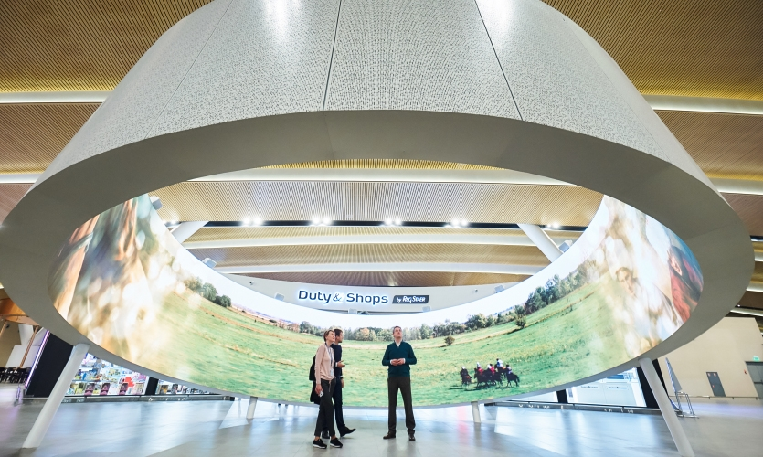 The story of the Cossacks' origin is displayed across a 360-degree LED screen 90 feet in circumference.