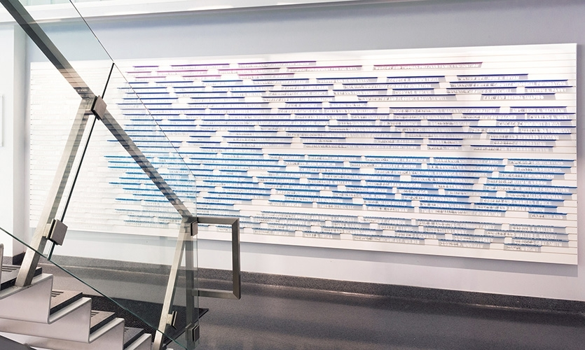 The School of the Art Institute of Chicago commissioned Media Objectives at Valerio Dewalt Train to create an engaging donor wall in the main lobby of the new LeRoy Neiman Center.