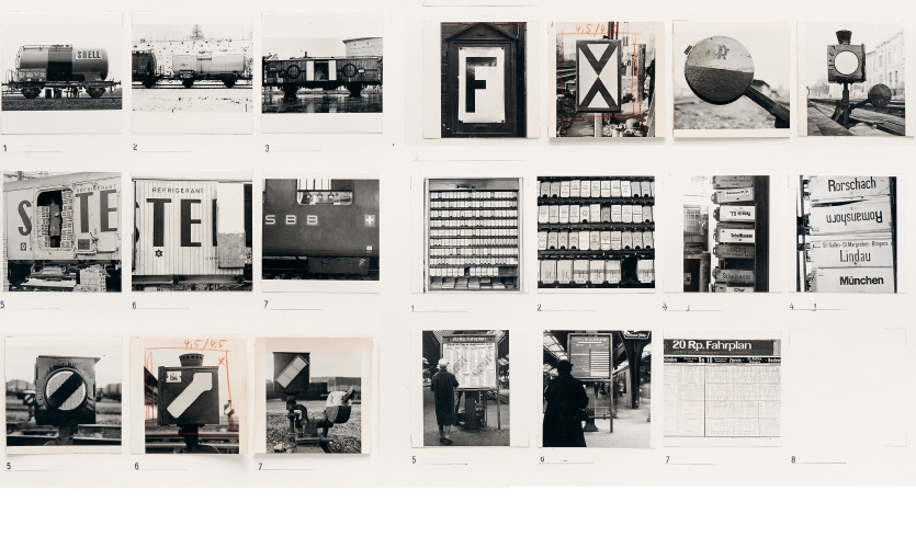 Contact prints from the collection of photographs of anonymous railway graphics that Josef Müller-Brockmann had his studio put together in the late 1950s
