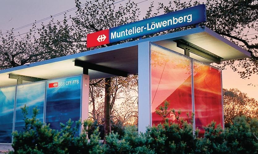 Muntelier-Löwenberg station; architecture by Gauer Itten Messerli (2002)