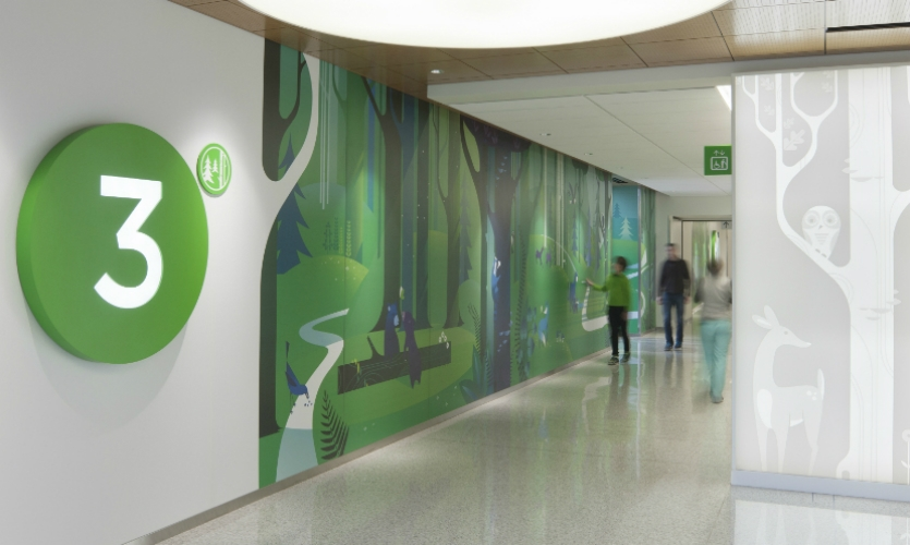 At Seattle Children's Hospital, Studio SC integrated art and wayfinding.