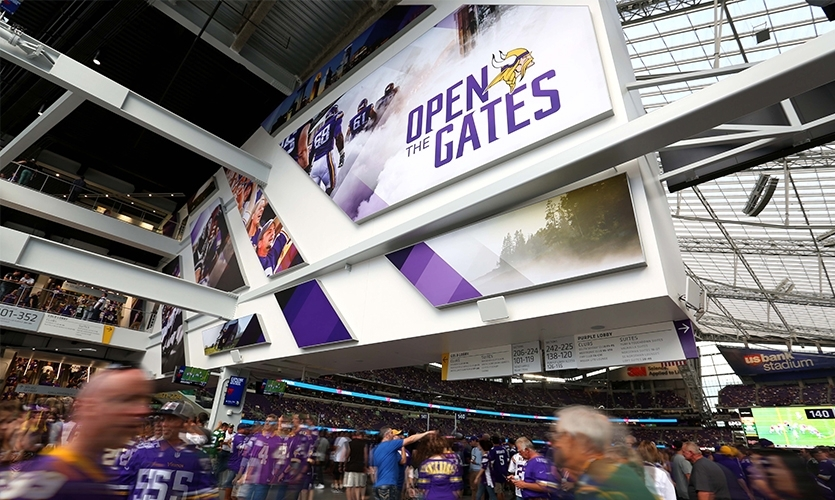 Infinite Scale designed signage and graphics systems for the Vikings 14+ partners (aka sponsors) that successfully reflected each partner's brand while complementing the building's architecture.