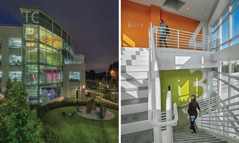 M-O's vibrant color palette is introduced in super-scaled stairwell graphics.