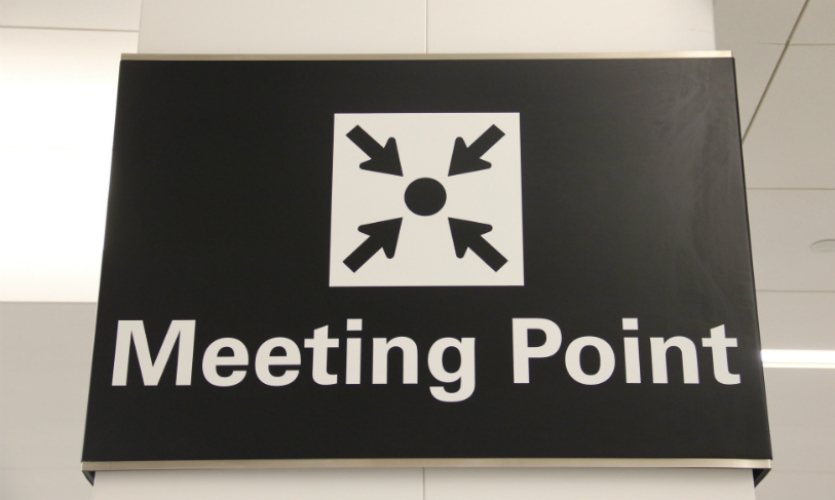 The airport's four terminals all feature signed meeting points.