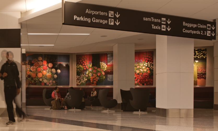 SFO's airport-wide wayfinding system leverages the visual clarity of black and white.