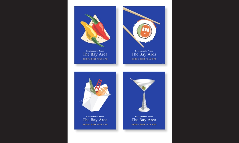 """Pop Art"" poster design for dining options incorporating San Francisco icons."
