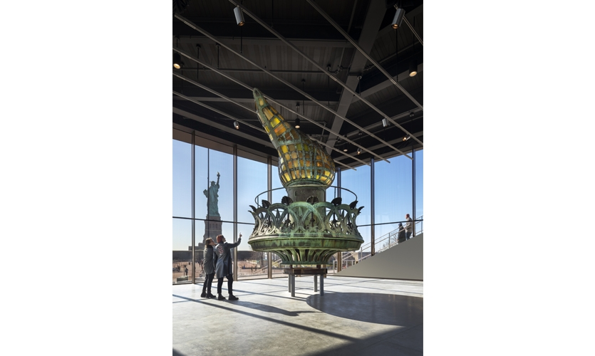 The Statue of Liberty museum experience culminates in a moment of reflection and celebration, where visitors consider their own views of Liberty. (Photo: David Sundberg / Esto)