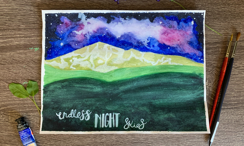 """Watercolor painting by Sarah Miorelli titled """"Colorado Mountains at Night"""""""