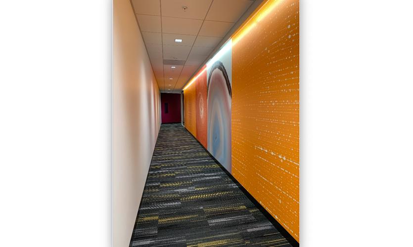 Kaiser Permanente, Pleasanton, CA – Custom digital wallcovering using a sustainable vinyl alternative substrate. Artwork development by Designtex.