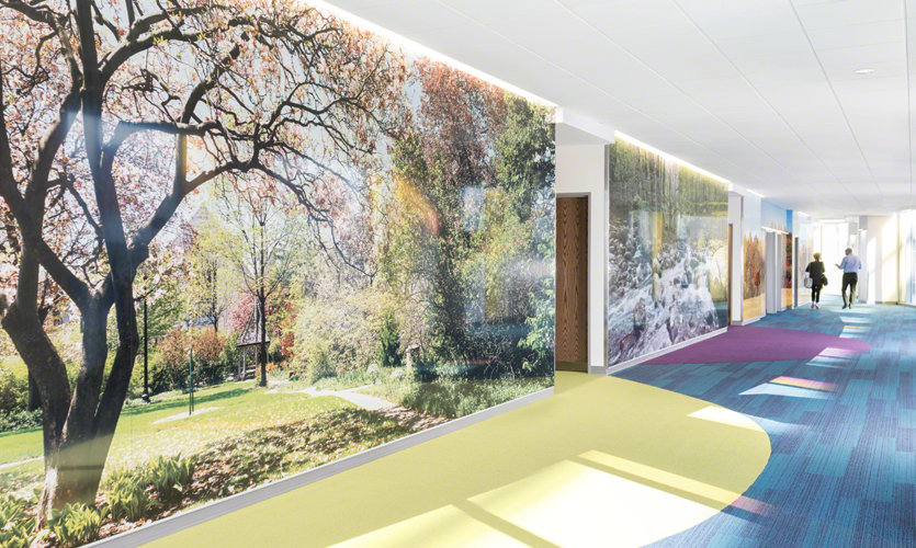 Lexington | Shriners Hospitals for Children Medical Center. – CeramicSteel Wall Panel system with full color digital printing. Design direction by Designtex.