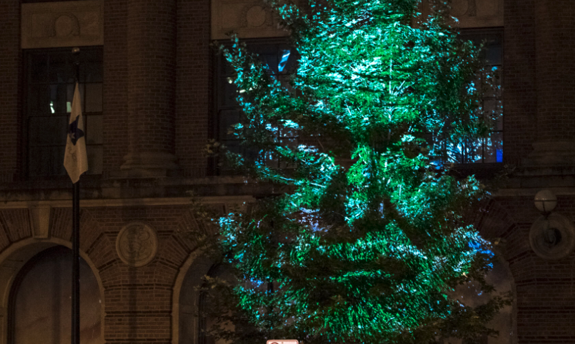 "NEXT/NOW's ""Rooted in Greatness"" projection mapping installation for the Illinois Bicentennial"