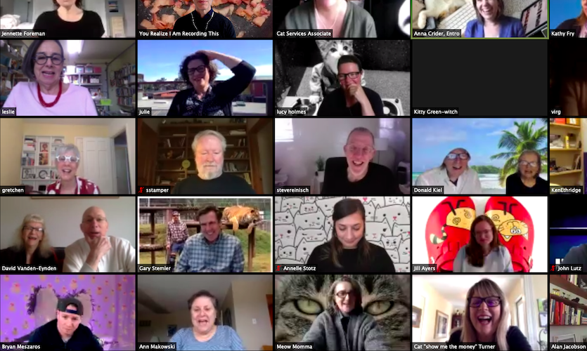A recent Zoom party for Ann featured cat backgrounds and many familiar faces