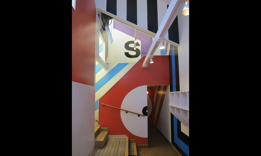 Sea Ranch Supergraphics (1966). Barbara Stauffacher Solomon filled entire walls with colorful stripes and bold shapes, revealing the powerful potential of graphic design as architectural language.