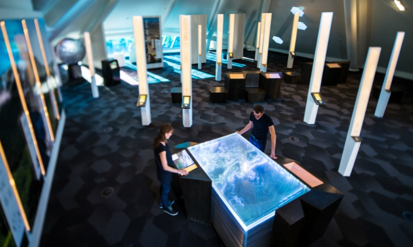 Second Story designed the new exhibit Learning to See inside the Denver Botanic Garden's newly opened Science Pyramid.